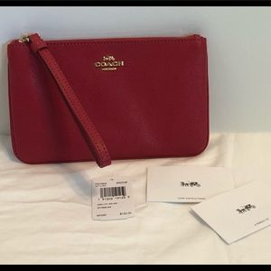 NWT Coach Crossgrain Leather Zip Large WristletRed